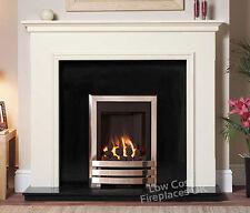GAS WHITE SURROUND BLACK MARBLE GRANITE MODERN CHROME COAL FIRE FIREPLACE LARGE