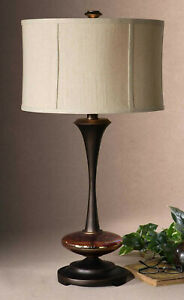 Uttermost Lahela 3 Way Table Lamp Distressed Copper Bronze 26426-1 Clean