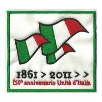 [Patch] 150° ANNIVERSARIO UNITÀ D'ITALIA cm 8,5 x 8 toppa ricamata ricamo -413