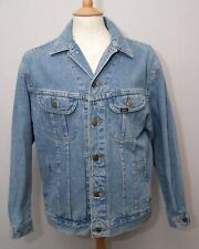 "Lee Rider men's mid blue heavy denim jean trucker jacket L 42"" 107cm short fit"