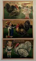 Lot of 3 ~Children with Turkeys~Gel Embossed~Antique~Thanksgiving Postcards~a91