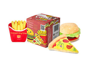 Everest Fast Food Squeaky Toy Set for Dogs, Pizza Burger and Fries Set
