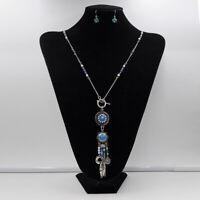Vintage Design Coin Tassel Pendant Sweater Chain Drop Ear Studs Jewelry Set