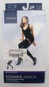 Sigvaris LL 15-20 mmHg Black Soft Opaque Compression Stockings Socks 841 Thigh