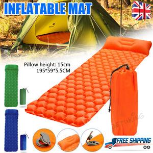 Soft Inflatable Camping Mattress Air Mat Sleeping Pad Hiking Roll Up Bed Mat New