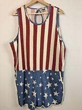 ce0b7b7d1cd9 Junk Food Romper Sz 2XL American Flag Wonder Womens Patriotic Overall Short