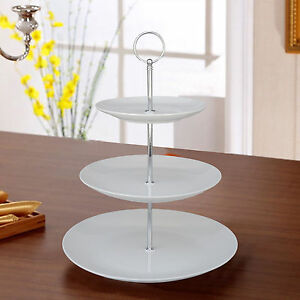 3 Tier Ceramic White Round Display Cake Stand Food Platter Serving Rack Holder