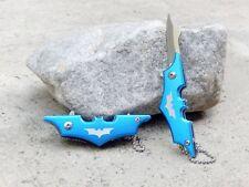 "4.25"" Blue Small Mini Batman Keychain Spring Assisted Pocket Knife Folding Blade"