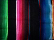 New Extra Large Black multicol Genuine Mexican Sarape Hot Rod Blanket Rug Picnic