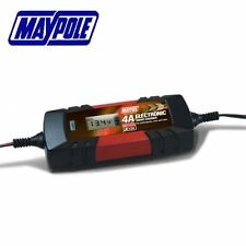 Maypole Battery Charger 4A Car Motorcycle Van, for Wet, AGM & Gel Types MP7423
