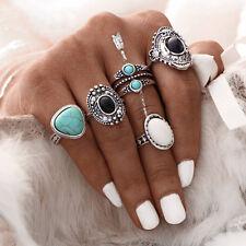 BOHO 5PC RING SET Bohemian Gypsy Ethnic Tribal Festival Jewellery Gift Silver