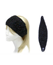 Black and Metallic Flower Knit Head Band