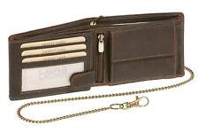 Geldbörse Biker Portmonee Portemonnaie mit Kette LEAS MCL Vintage Leder, braun