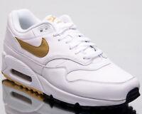 Nike Air Max 90/1 Men Lifestyle Shoes White Metallic Gold Black AJ7695-102