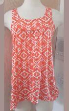 Star Vixen Beautiful Sleeveless Orange White Abstract Print Slinky Knit Top S