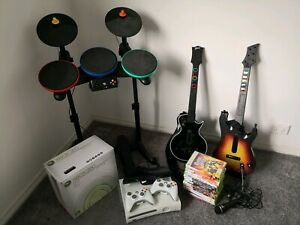 Xbox 360 console, controllers, accessories and assorted games (incl Guitar Hero)