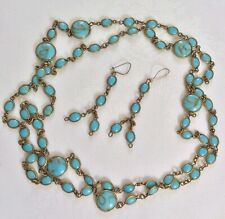 Antique Edwardian? Long Turquoise & Gold Cabochon Glass Bezel Necklace Earrings