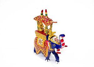 Indian Handmade Metal Elephant Statue Stone Meenakari Painting Home Decor Gift