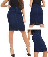 Womens High Waist Denim Skirt Pencil skirts Size 8 10 12 14 16 Indigo Blue