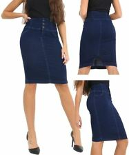 Womens High Waist Denim Skirt Pencil skirts Size 8 10 12 14 16 Indigo Blue