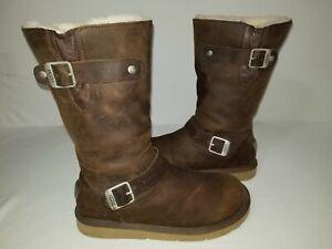 UGG Australia Kensington 5678 Brown Leather Sheepskin Lined Tall Boots Size 8