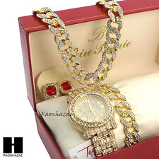 "Iced Techno Pave Watch 30"" Cuban Stone Chain Bracelet Ruby Earring Combo Set"