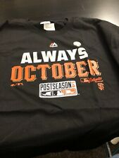Majestic San Francisco Giants Always October 2014 Postseason Shirt Sz. L New