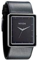 Nixon The Portrait Square Black Dial Black Leather Women's Watch A304000 SD