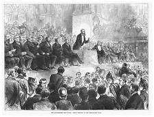Canal maritime de Manchester réunion dans le hall de libre-échange - ANTIQUE PRINT 1885