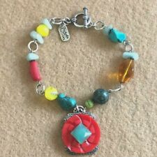 "Vintage Grandmothers Buttons Bracelet Signed Red Vintage Button Beads Silver 8"""