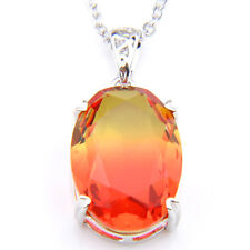 Xmas Holiday jewelry Bi Colored Tourmaline Gemstone Silver Necklace Pendants