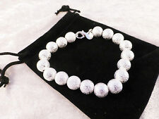Silver Plated Sand Blasted Effect Beaded Cuff /Bangle / Bracelet + Free Gift Bag