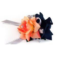 Wrist corsage:shades of Peach/orange/coral rose with black and gray-silk flower