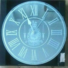 Military, Royal Marines Laser Engraved Mirror Wall Clock with Insignia + Daggers