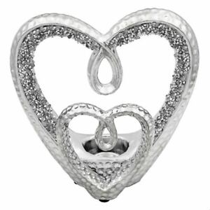 SILVER SPARKLE DOUBLE HEART CANDLE TEA LIGHT HOLDER BLING ORNAMENT GIFT PRESENT