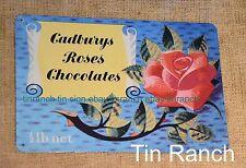 RETRO Cadbury Roses TIN SIGN old chocolate box 50s vintage NEW METAL LOLLY SHOP