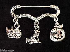 """""""All Hallows Eve"""" Halloween Cloak Brooch pagan silver pin witch pumpkin cat"""