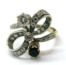 Fine Vintage Diamond and green Emerald Bow Ring 14KT