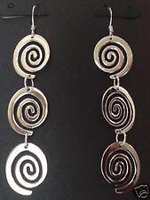 Sterling Triple Scroll Link Earrings, Triple Scroll Link Silver Dangle Earrings