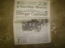 JOHN DILLINGER MOBSTER CAPTURED NEWSPAPER