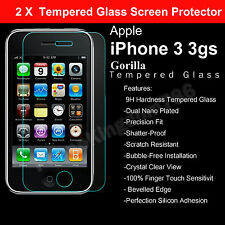 2 X 100% GENUINE TEMPERED GLASS GUARD FILM SCREEN PROTECTOR FOR APPLE IPHONE 3GS
