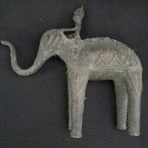 Antique Bronze/ Brass Elephant and Mahout Rider 7 inches high 1KG