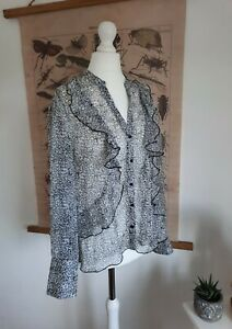 Mint Velvet Size 12 Floral Ditsy Print Semi Sheer Chiffon Blouse Black & White