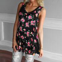 US Fashion Womens Summer Loose Blouse Tops Ladies V Neck Sleeveless Vest T Shirt