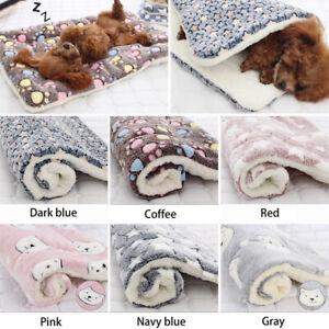 Paw Print Pet Mat Cat Dog Puppy Fleece Mattres Cushion Bed Warm Blanket Supply