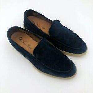 $925 Loro Piana Ladies Navy Suede Summer Open Walk Flat Pump Shoe Loafer Size 38