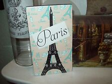 Paris decor SMALL beige blue and black Eiffel Tower block sign shabby French