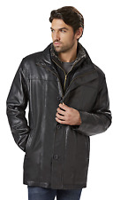 Men's Outdoor Spirit Leather Car Coat with Bib Black L #NKMK7-965