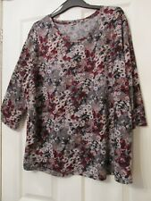 LADIES RED/GREY FLORAL PATTERN  FLEECE TUNIC TOP SIZE 22/24 BY DAMART