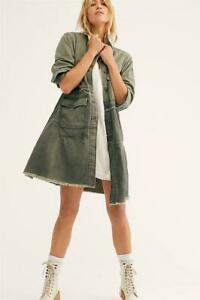 We The FREE PEOPLE Olive Green FOREVER FREE Distressed TIERED Long JACKET XS NEW